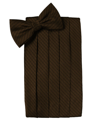 Chocolate Diamond Grid Pattern Cummerbund Set