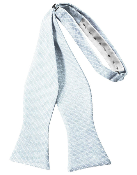 Powder Blue Diamond Grid Pattern Self-Tie Bow Tie
