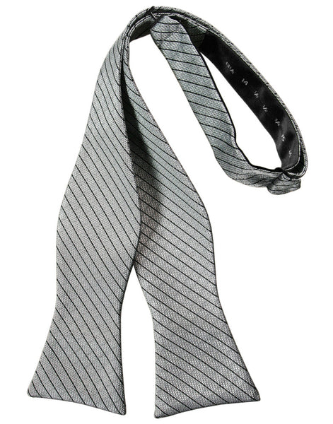 Silver Diamond Grid Pattern Self-Tie Bow Tie