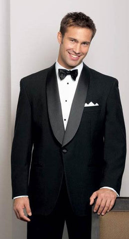 Men's 100% Wool Black Tuxedo Jacket with Shawl Collar