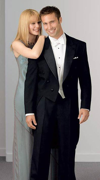 Black 100% Wool Tuxedo Tails Jacket - Peak Lapel