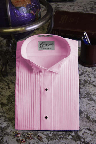 "Men's Pink Wing Collar Tuxedo Shirt  With 1/4"" Pleats"