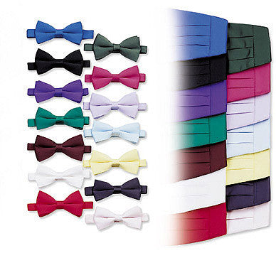 Poly/Satin Cummerbund and Bow Tie Set - Clover Green