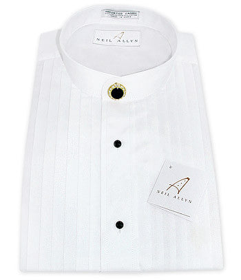 Neil Allyn White Pleated Mandarin Tuxedo Shirt