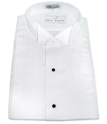 Neil Allyn White Pleated Wing Collar Tuxedo Shirt