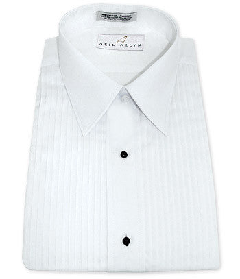 Neil Allyn White Pleated Laydown Collar Tuxedo Shirt