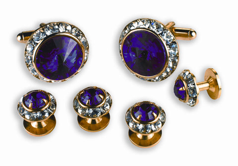 Amethyst & Austrian Crystal Cufflinks and Studs Set - Style #2201G