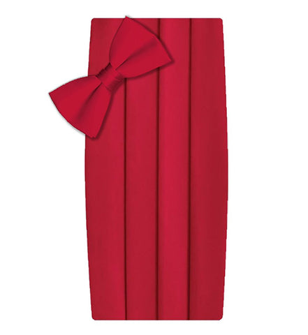 Poly/Satin Cummerbund and Bow Tie Set - Red