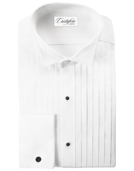 Men's White Wing Collar Tux Shirt in Big and Tall Sizes - 100% Cotton