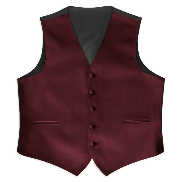 Burgundy Poly Satin Tuxedo Vest  (105V-45) and Tie Set