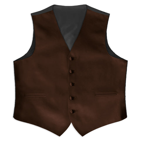 Chocolate Brown Satin Full Back Tuxedo Vest