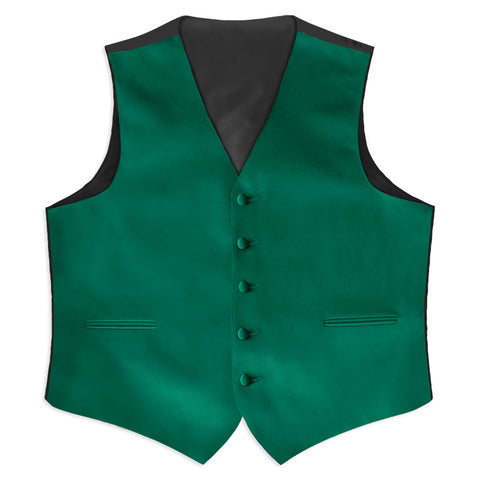 Emerald Green Satin Full Back Tuxedo Vest
