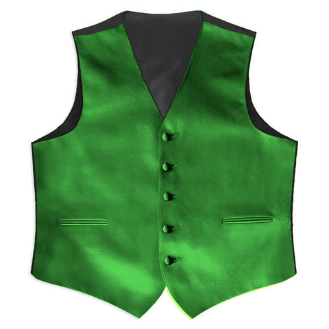 Kelly Green Satin Full Back Tuxedo Vest