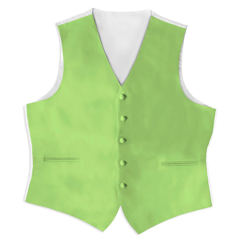 Lime Green Satin Full Back Tuxedo Vest