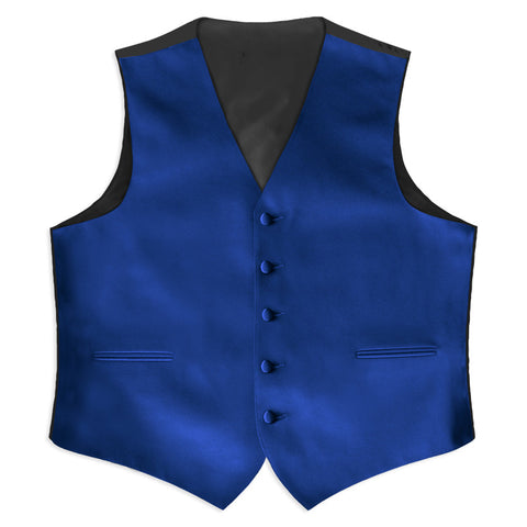 Royal Blue Satin Tuxedo Vest  (105V-38) (5X-Large Long (62-64))