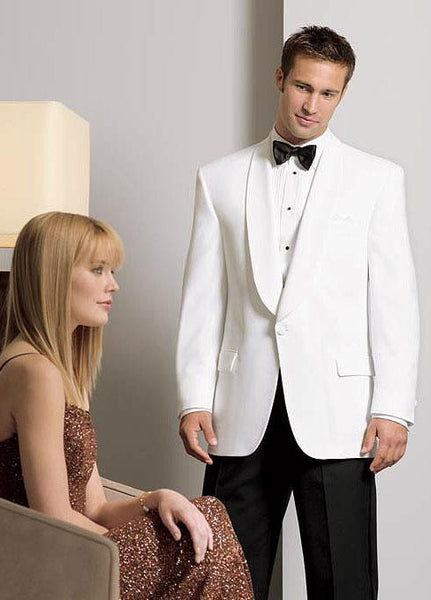 White Dinner Jacket - Classic 1 Button Shawl Lapel