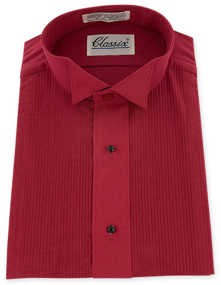 Red Formal Wing Collar Tuxedo Shirt