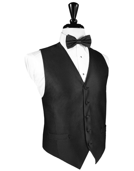 Black Silk Weave Full Back Tuxedo Vest and Tie Set by Cardi