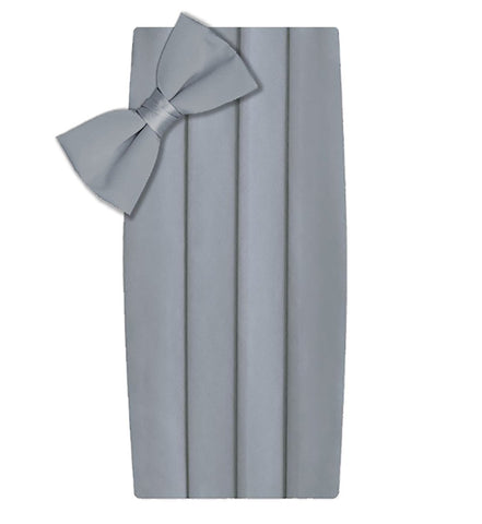 Poly/Satin Cummerbund and Bow Tie Set - Light Grey / Silver