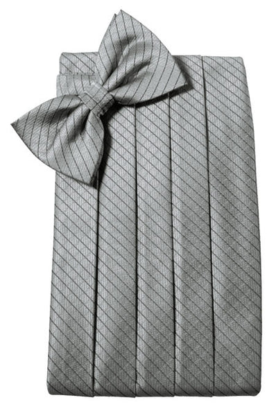 Silver Diamond Grid Pattern Cummerbund Set