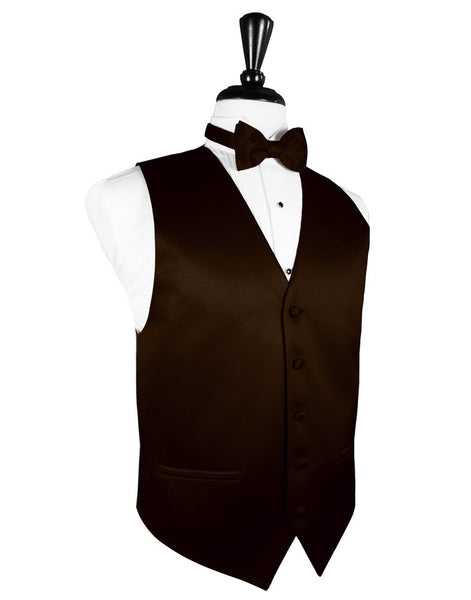 "Chocolate ""Premier"" Satin Tuxedo Vest and Tie Set"