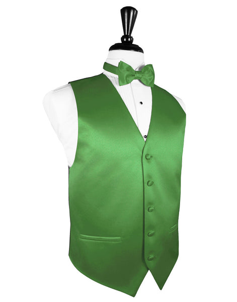 "Kelly Green ""Premier"" Satin Tuxedo Vest and Tie Set"