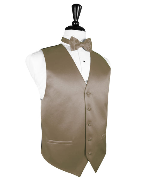 "Latte ""Premier"" Satin Tuxedo Vest and Tie Set"