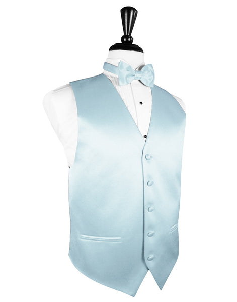 "Light Blue ""Premier"" Satin Tuxedo Vest and Tie Set"