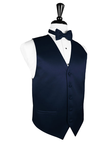 "Marine Blue ""Premier"" Satin Tuxedo Vest and Tie Set"