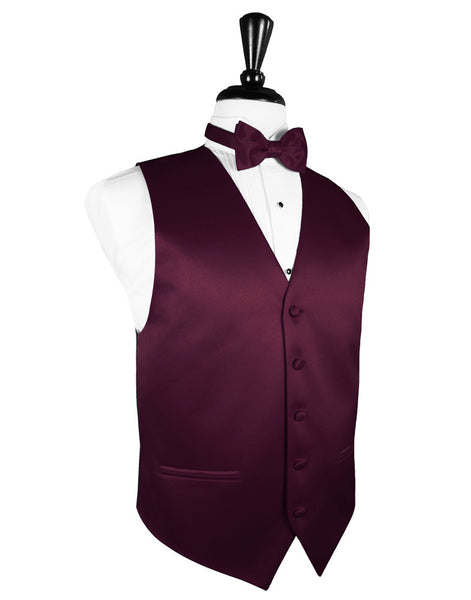 "Wine ""Premier"" Satin Tuxedo Vest and Tie Set"