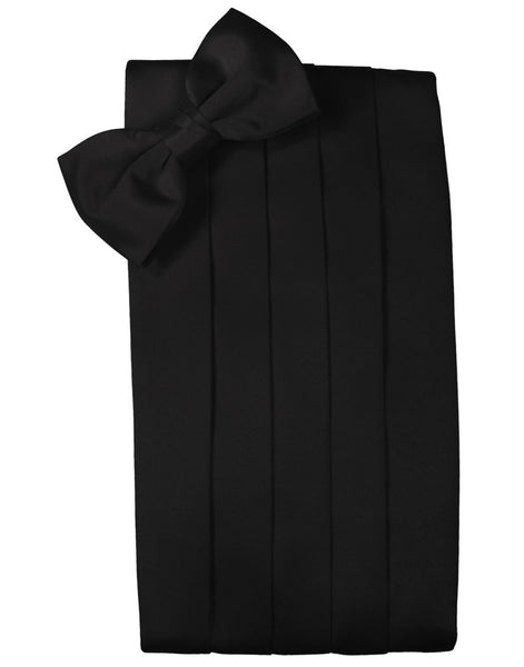 Black Noble Silk Bow Tie and Cummerbund Set by Cristoforo Cardi