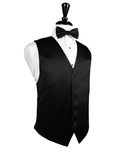 Black Noble Silk Full Back Tuxedo Vest and Tie Set by Cardi