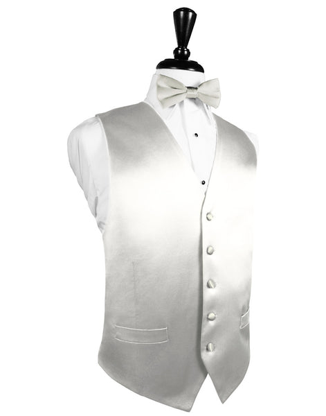 Ivory Noble Silk Full Back Tuxedo Vest and Tie Set by Cardi