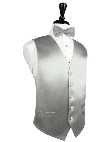 Platinum Noble Silk Full BackTuxedo Vest and Tie Set by Cardi