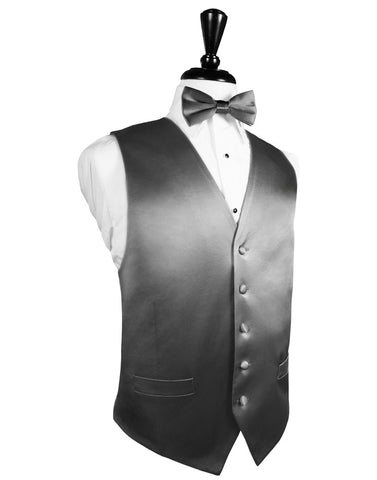 Silver Noble Silk Full Back Tuxedo Vest by Cristoforo Cardi