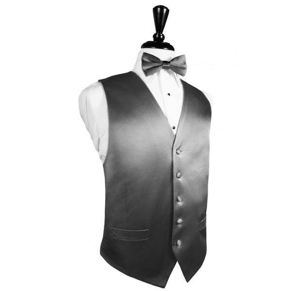 Silver Noble Silk Full Back Tuxedo Vest and Tie Set by Cardi