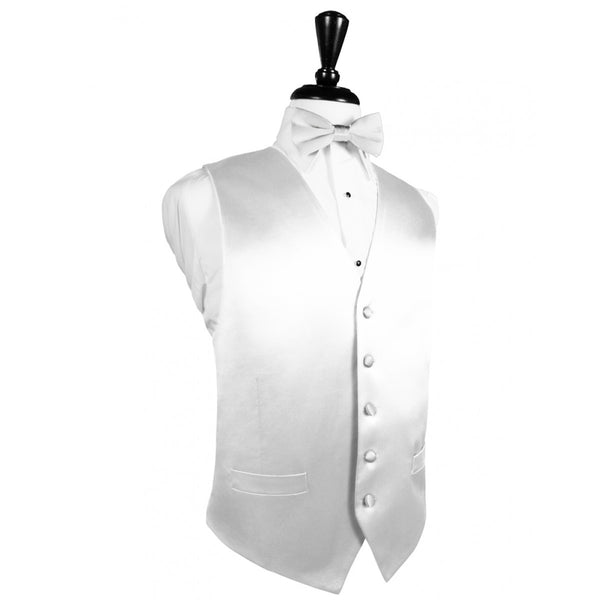 White Noble Silk Full Back Tuxedo Vest and Tie Set by Cardi
