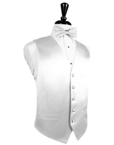 White Noble Silk Full Back Tuxedo Vest by Cristoforo Cardi