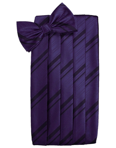 Amethyst Striped Satin Cummerbund Set
