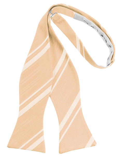 Apricot Striped Satin Self-Tie Formal Bow Tie