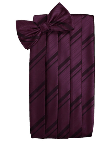 Berry Striped Satin Cummerbund Set