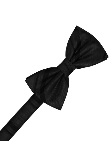 Black Striped Satin Formal Bow Tie