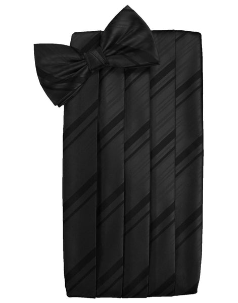 Black Striped Satin Cummerbund Set