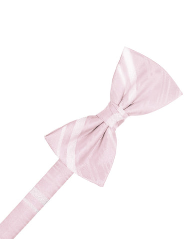 Blush Striped Satin Formal Bow Tie