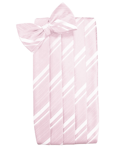 Blush Striped Satin Cummerbund Set