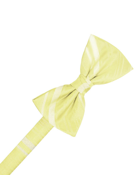 Canary Striped Satin Formal Bow Tie