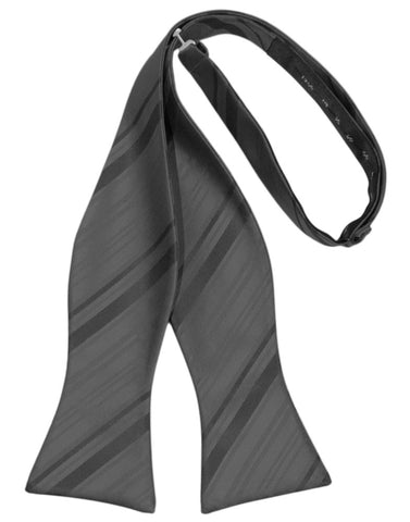 Charcoal Striped Satin Self-Tie Formal Bow Tie