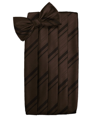 Chocolate Striped Satin Cummerbund Set