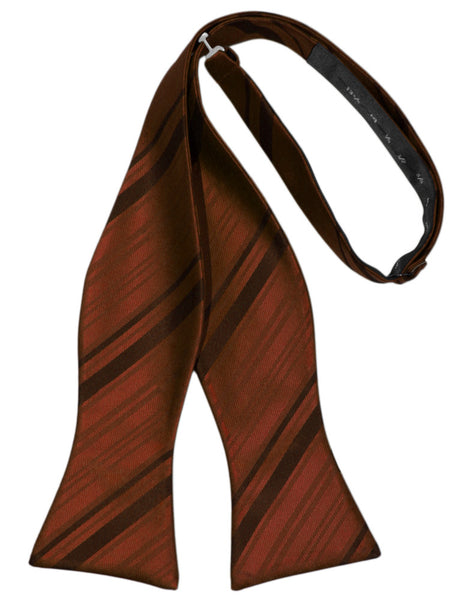 Cognac Striped Satin Self-Tie Formal Bow Tie