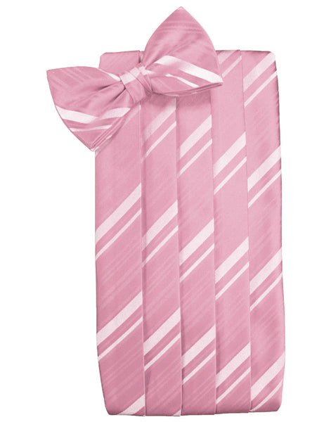 Coral Striped Satin Cummerbund Set